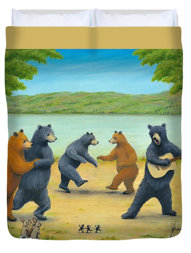 Bears Duvet Cover featuring the painting Dancing Bears by Jerome Stumphauzer