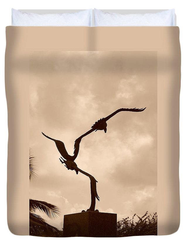 Sepia Duvet Cover featuring the photograph Dancing Birds by Rob Hans