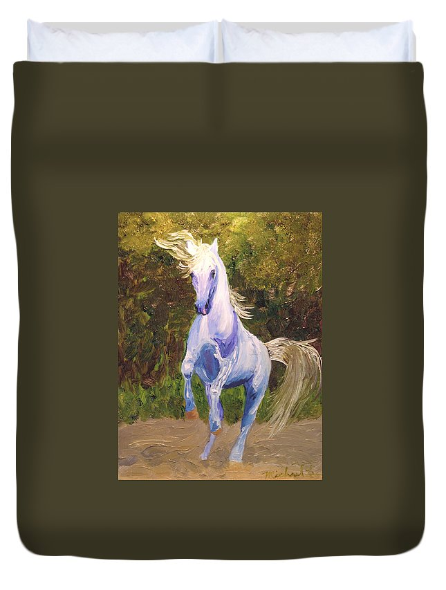 Horse Duvet Cover featuring the painting Dancing Blue by Michael Lee