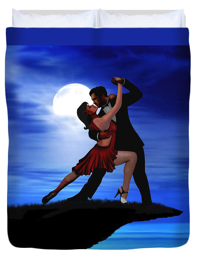 Dancing Duvet Cover featuring the digital art Dancing By Moonlight by Glenn Holbrook