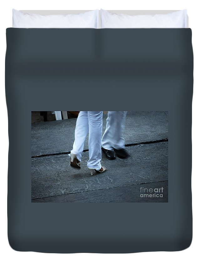 Dancing Duvet Cover featuring the photograph Dancing Feet At The Dominican Republic Son Party Number One by Heather Kirk