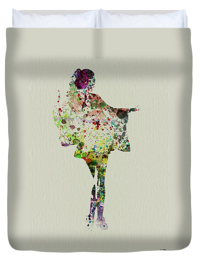 Kimono Duvet Cover featuring the painting Dancing Geisha by Naxart Studio