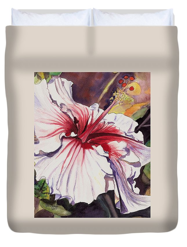 Hibiscus Art Duvet Cover featuring the painting Dancing Hibiscus by Marionette Taboniar
