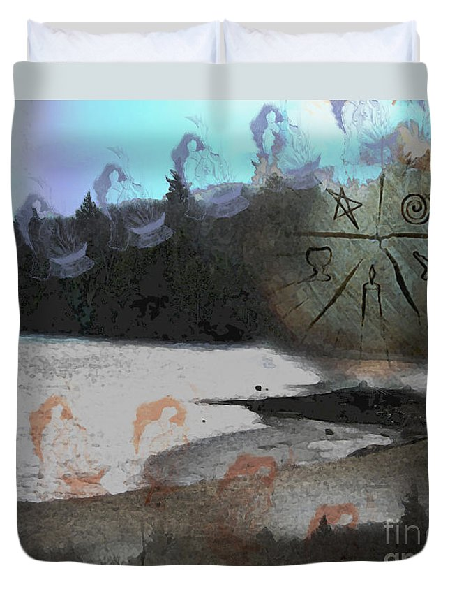 Fantasy Duvet Cover featuring the digital art Dancing High by Cyndy DiBeneDitto