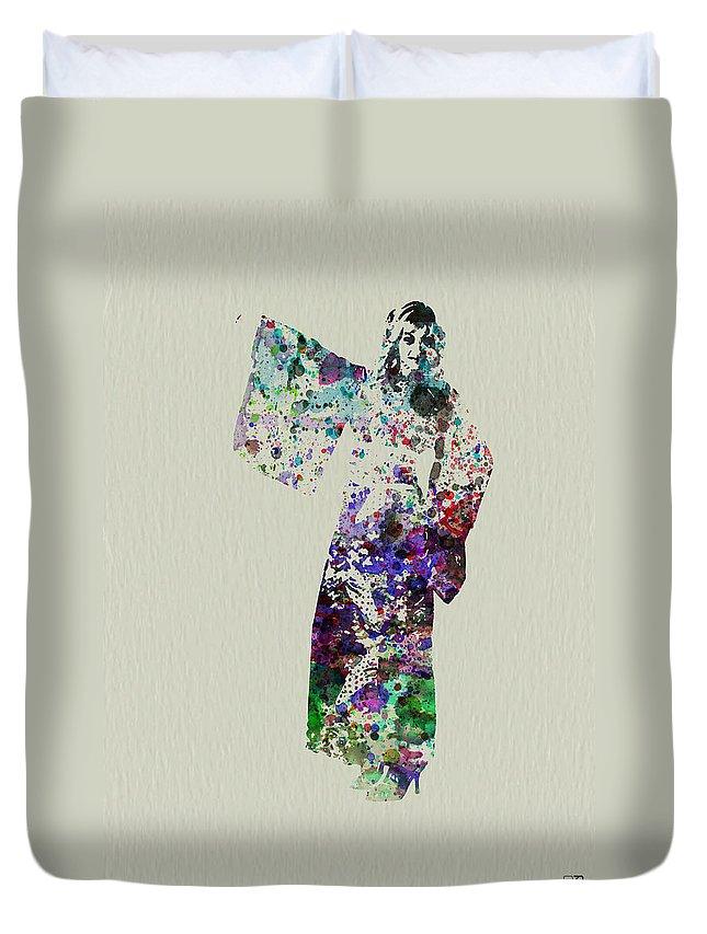 Kimono Duvet Cover featuring the painting Dancing In Kimono by Naxart Studio