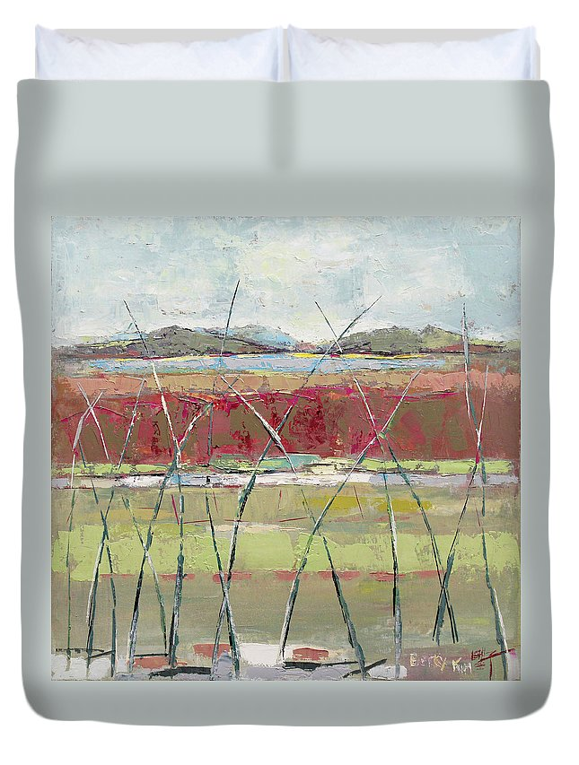 Landscape Duvet Cover featuring the painting Dancing In The Field by Becky Kim