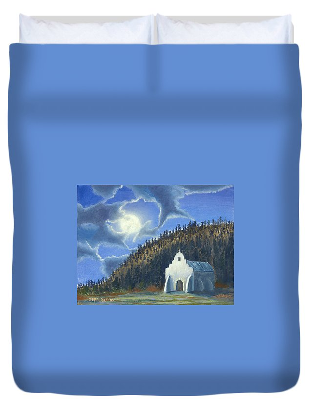 Landscape Duvet Cover featuring the painting Dancing In The Moonlight by Jerry McElroy