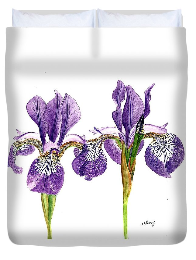 Purple Duvet Cover featuring the painting Dancing Iris by Sheila Perry