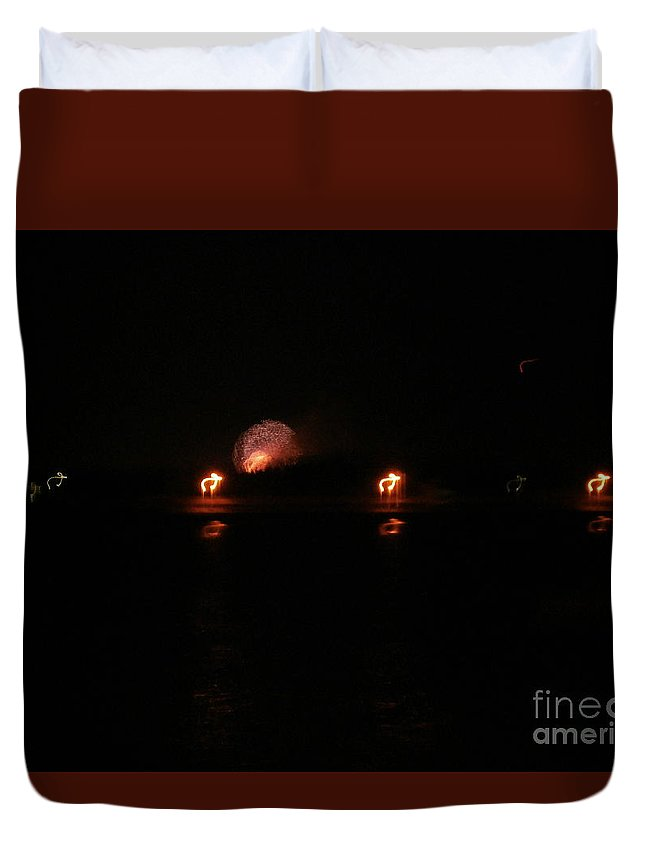 Photo Lights Reflections Duvet Cover featuring the photograph Dancing Kangi by Paul Rowe