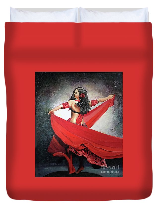 Belly Dancing Duvet Cover featuring the painting Dancing Lady by Jose Manuel Abraham