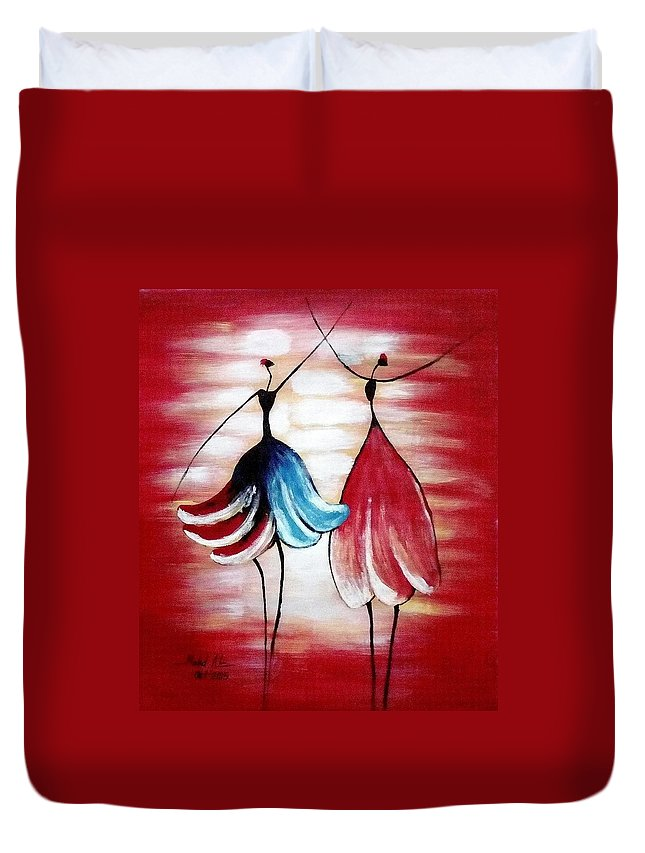 Morden Art Duvet Cover featuring the painting Dancing Lady by Mohamad Ali