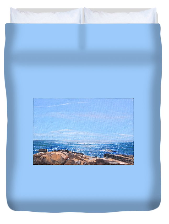 Seascape Duvet Cover featuring the painting Dancing Light by Lea Novak