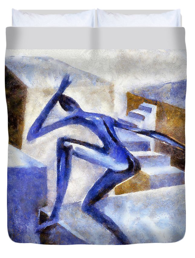 Conceptual Duvet Cover featuring the painting Dancing Off The Edge Of The World by Michelle Calkins