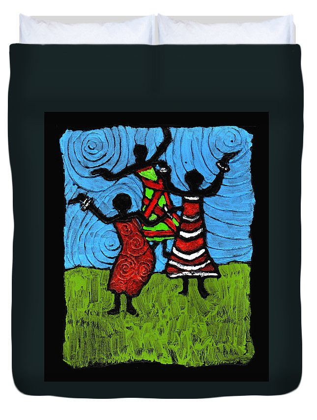 Black Art Duvet Cover featuring the painting Dancing So Good I Started To Fly by Wayne Potrafka