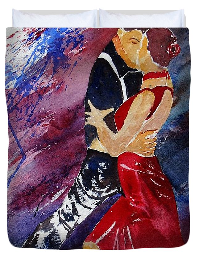 Tango Duvet Cover featuring the painting Dancing Tango by Pol Ledent