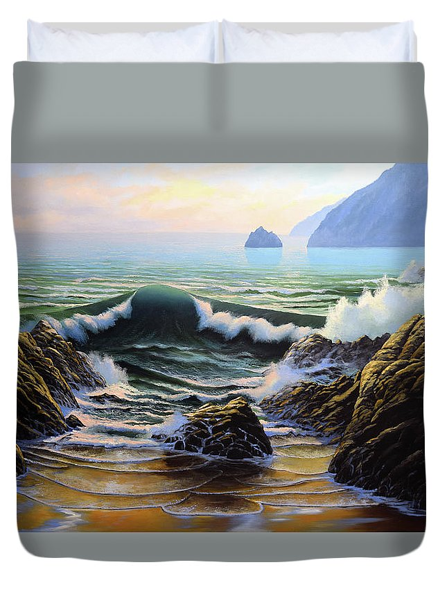 Dancing Tide Duvet Cover featuring the painting Dancing Tide by Frank Wilson