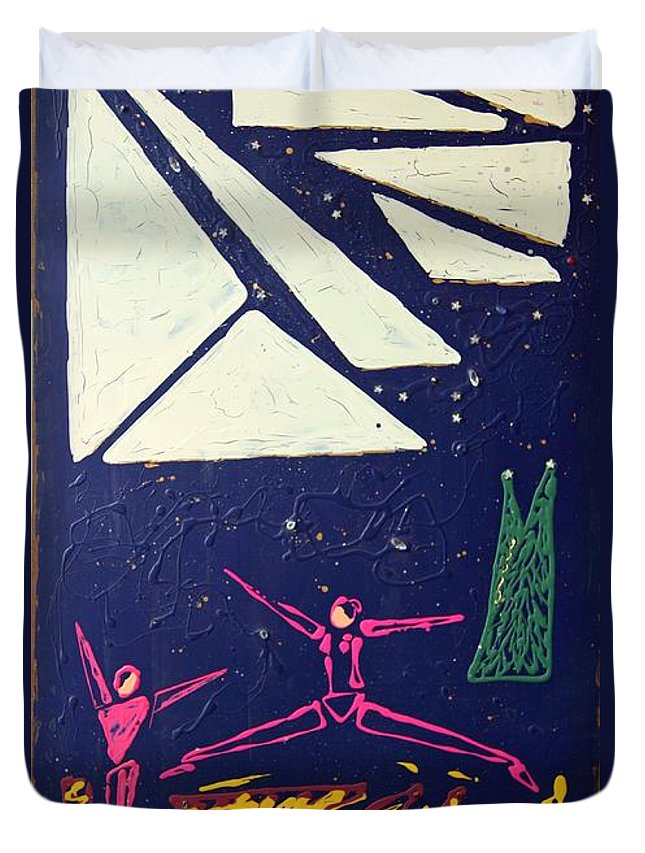 Dancers Duvet Cover featuring the mixed media Dancing Under The Starry Skies by J R Seymour
