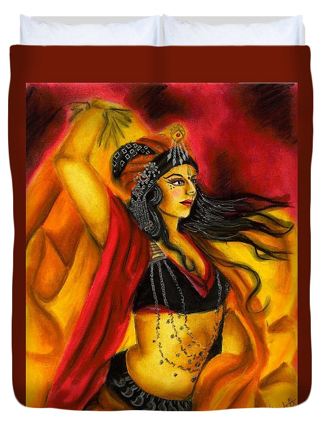 Belly Dancer Duvet Cover featuring the drawing Dancing with Fire by Scarlett Royal