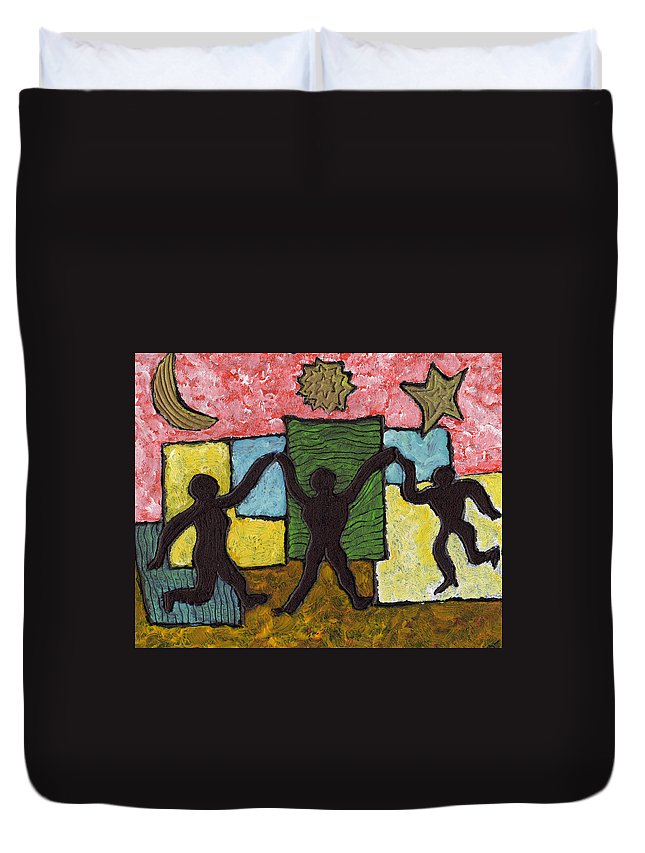 Dancing Duvet Cover featuring the painting Dancing With The Stars...and The Sun And The Moon by Wayne Potrafka