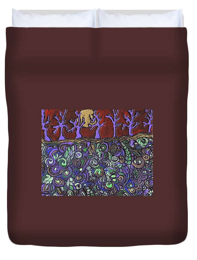 Trees Duvet Cover featuring the painting Dancing With The Trees by Wayne Potrafka