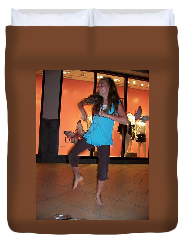 Girl Duvet Cover featuring the photograph Dancing Young Girl by Laurie Paci