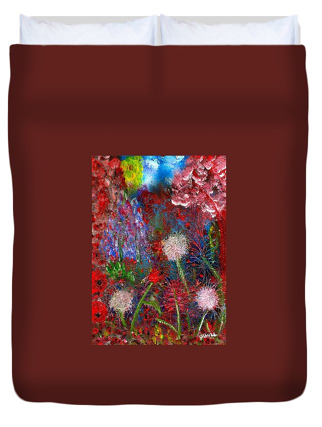 Dandelions Duvet Cover featuring the painting Dandelion Clocks by Leigh Anna Kay