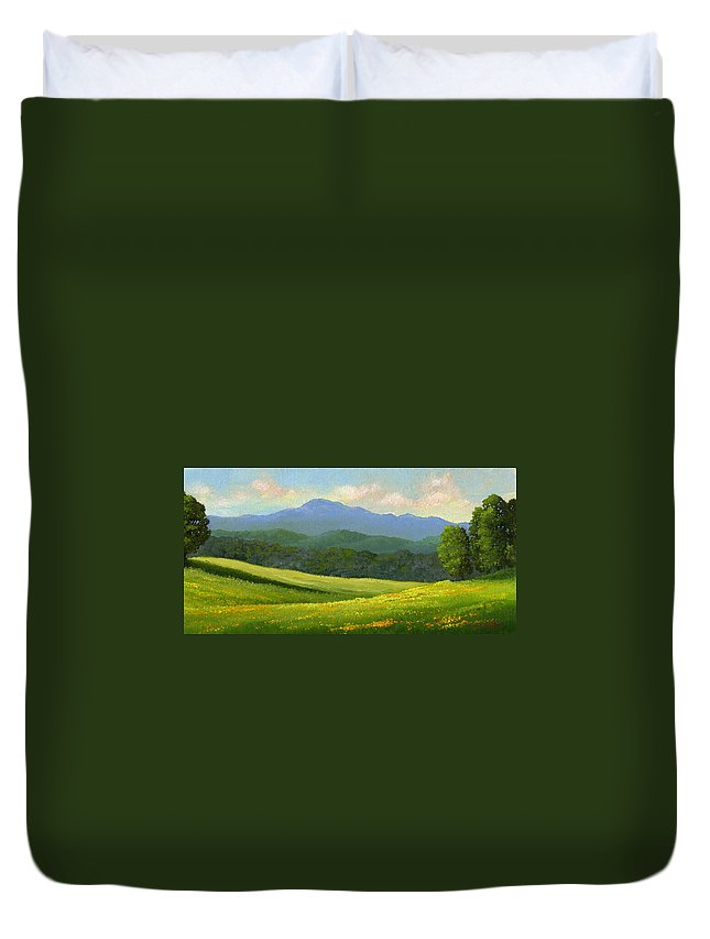 Landscape Duvet Cover featuring the painting Dandelion Meadows by Frank Wilson