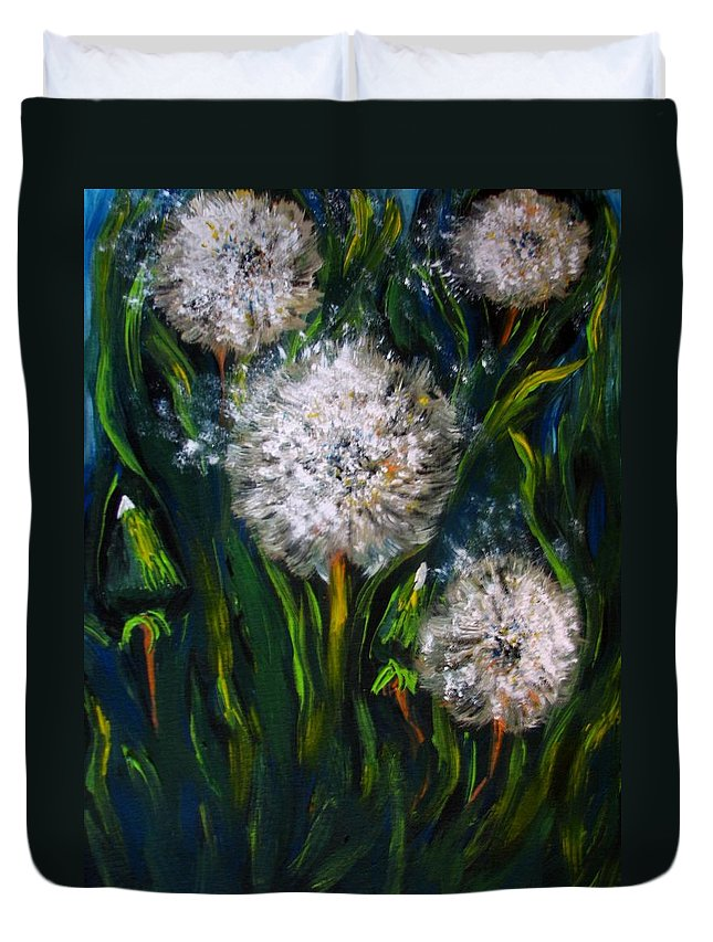 Flower Art Duvet Cover featuring the painting Dandelions Acrylic Painting by Natalja Picugina