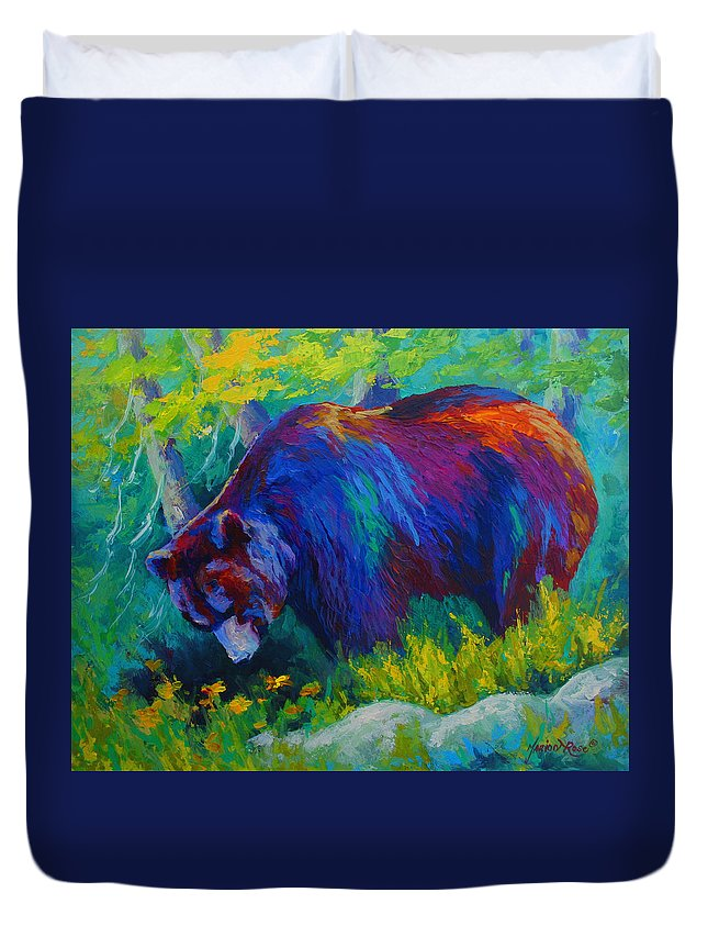 Western Duvet Cover featuring the painting Dandelions For Dinner - Black Bear by Marion Rose