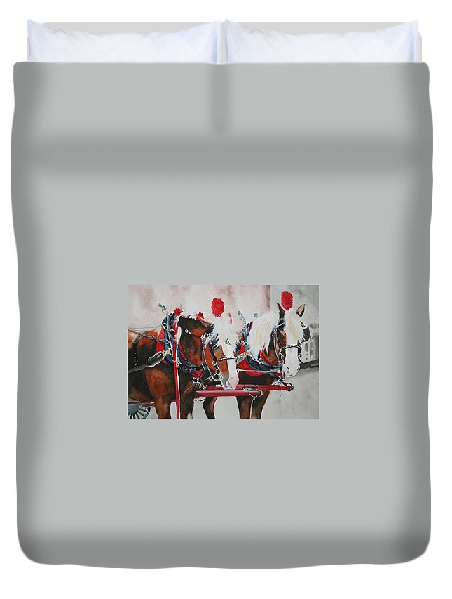 Horse Duvet Cover featuring the painting Dandy Duo by Jean Blackmer