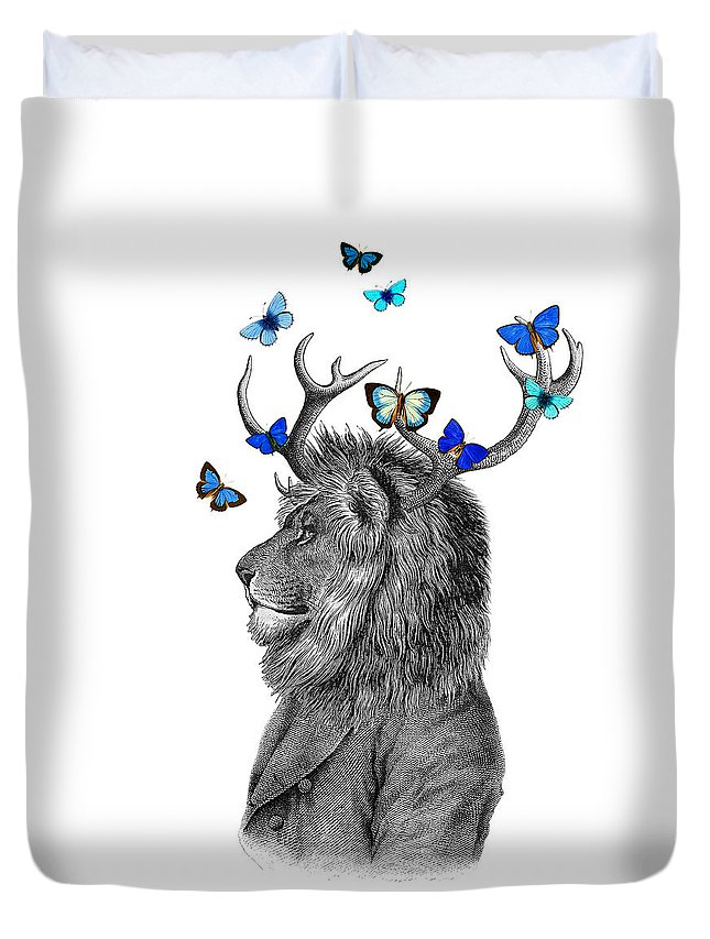Lion Duvet Cover featuring the digital art Dandy Lion With Antlers And Blue Butterflies by Madame Memento