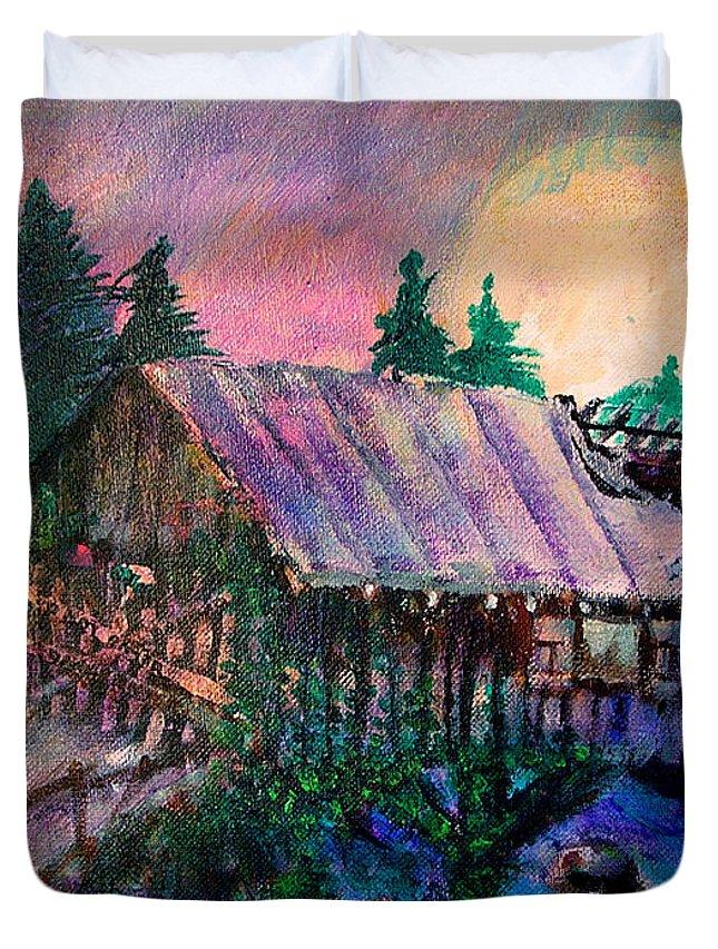 Dangerous Bridge Duvet Cover featuring the painting Dangerous Bridge by Seth Weaver