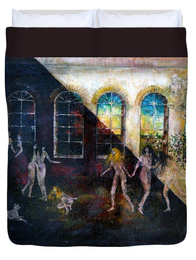 Imagination Duvet Cover featuring the painting Dangerous Parties by Wojtek Kowalski