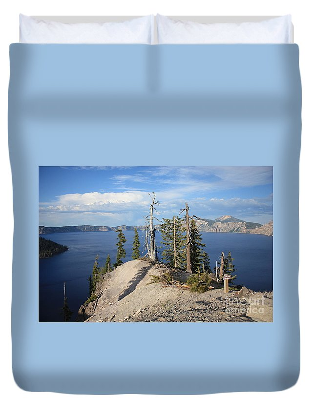 Crater Lake Duvet Cover featuring the photograph Dangerous Slope At Crater Lake by Carol Groenen