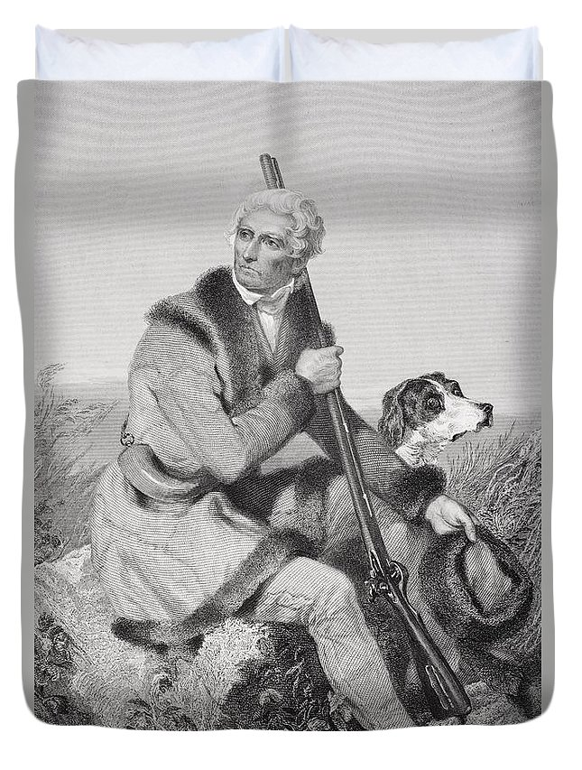 Folk Hero Duvet Cover featuring the drawing Daniel Boone 1734-1820. American by Vintage Design Pics