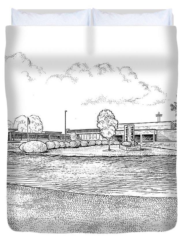 Daniel Duvet Cover featuring the drawing Daniel Hs by Greg Joens