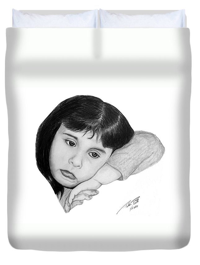 Portrait Sketch Duvet Cover featuring the drawing Dannie by Peter Piatt