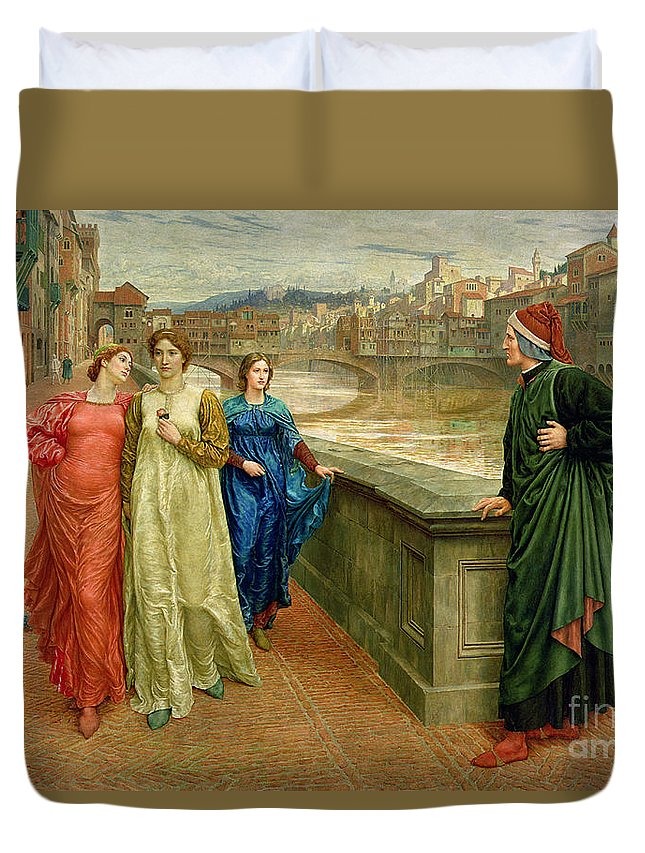 Dante And Beatrice Duvet Cover featuring the painting Dante And Beatrice by Henry Holiday