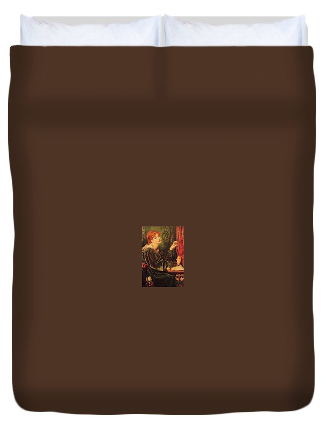 Fashion Duvet Cover featuring the digital art Dante Gabriel Rossetti - Veronica Veronese De Dante Gabriel Rossetti by Eloisa Mannion