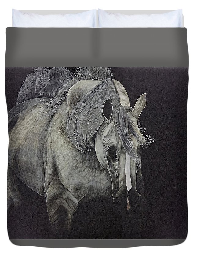 Horse Duvet Cover featuring the painting Dappled Gray Dreams by Joy Walsh