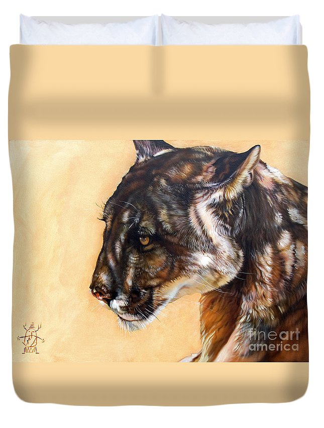 Catamount Duvet Cover featuring the painting Dappled by J W Baker