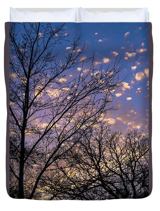 Sunset Duvet Cover featuring the photograph Dappled Sunset-1547 by Oonabot Photography