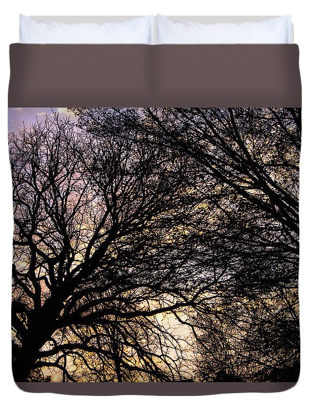 Sunset Duvet Cover featuring the photograph Dappled Sunset-1550 by Oonabot Photography