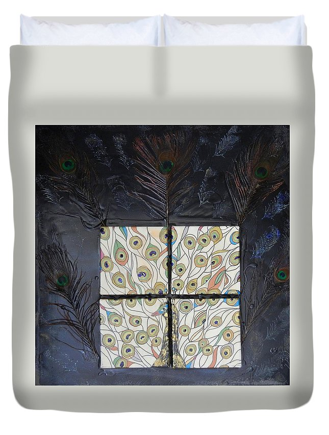 Peacock Duvet Cover featuring the mixed media Dare To Be Different I Peacock by Kruti Shah