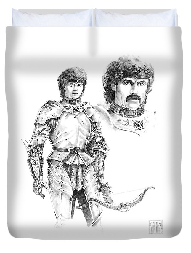 Knight Duvet Cover featuring the drawing Daria by Melissa A Benson