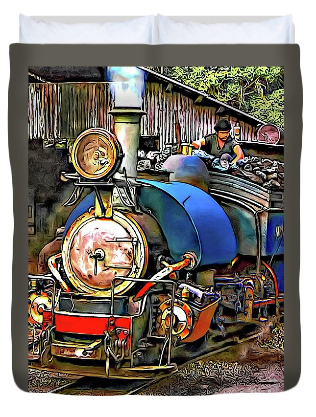 Toy Train Duvet Cover featuring the photograph Darjeeling Toy Train by Steve Harrington