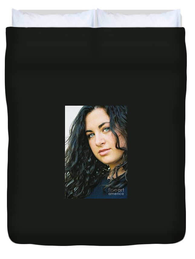 Blue Eyes Duvet Cover featuring the photograph Dark Beauty by Nadine Rippelmeyer