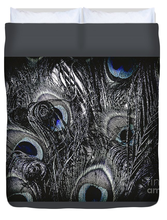 Peacock Duvet Cover featuring the photograph Dark Blue Peacock Feathers by Jorgo Photography - Wall Art Gallery