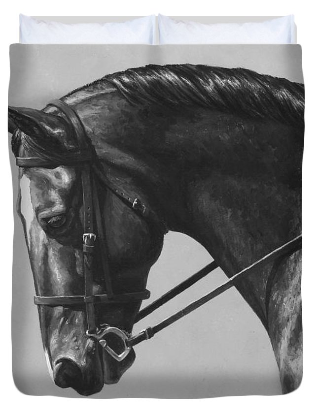 Horse Duvet Cover featuring the painting Dark Brown Dressage Horse Black And White by Crista Forest