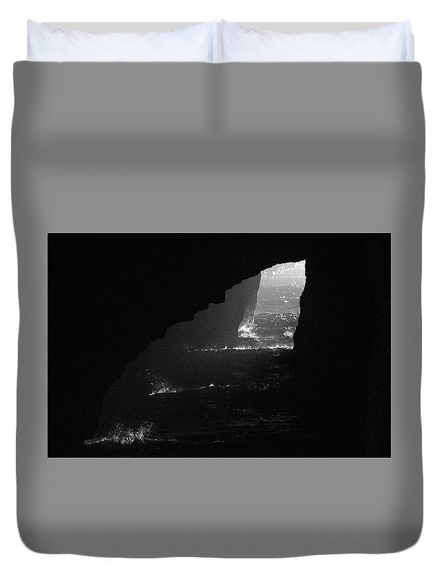 Cave Duvet Cover featuring the photograph Dark Cave by Jonny D